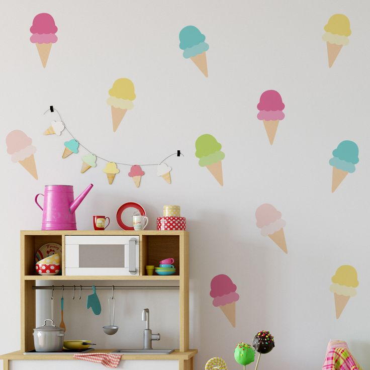Wall Sicker - Ice cream - Wall art - Stickers - Home decor - Fun - Summer - Wall tattoo- Decals - Nutmeg wall stickers by NutmegWallStickers on Etsy https://www.etsy.com/uk/listing/508398275/wall-sicker-ice-cream-wall-art-stickers
