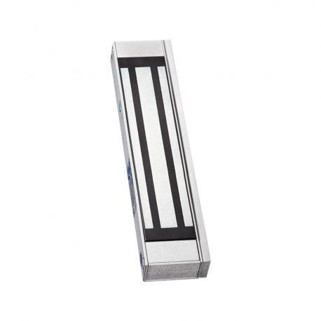 """Electromagnet de forta aplicat SM-150A. Electromagnetul de forta SM-150A este potrivit pentru usi de lemn, usi de sticla, usi metalice si usi anti-foc. Carcasa este din aluminiu, iar contraplaca din otel inoxidabil.  Tensiune de alimentare: 12Vcc Amperaj: 460mA la 12Vcc Forta de retinere: 150 kg Dimensiuni electromagnet: 170x35x21mm  Dimensiuni contraplaca: 130x33x11mm Alte caracteristici: suport """"i"""" inclus, fail-safe, protectie de supratensiune incorporata"""