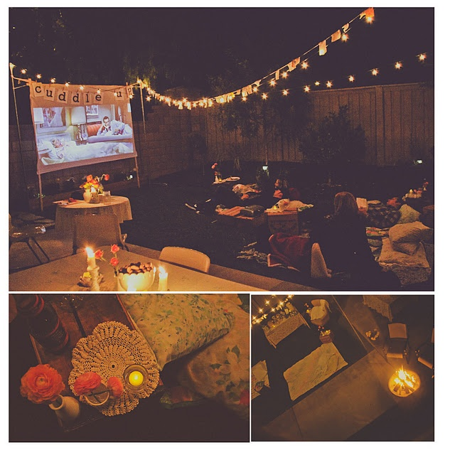 ✔ 1) Host a summer party with friends. Outdoor Movie Night.