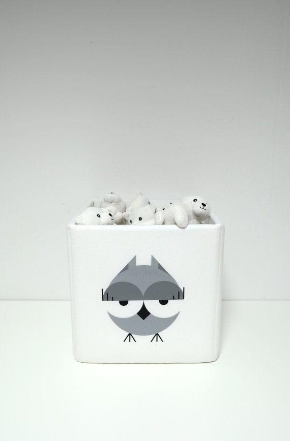 Toy storage bin fun design print cute gray owl kids room to