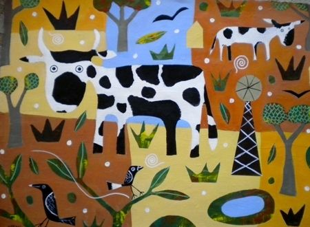Mark  Warren  Cattle and Cane - 2013   Acrylic on paper   76 x 56 cm