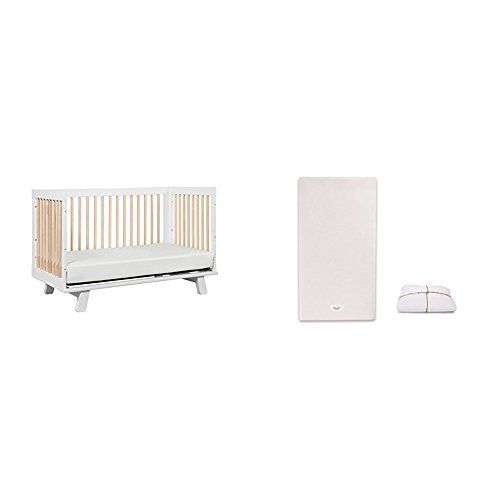 Hudson 3-in-1 Convertible Crib with Pure Core Non-Toxic Crib Mattress with Dry Waterproof Cover
