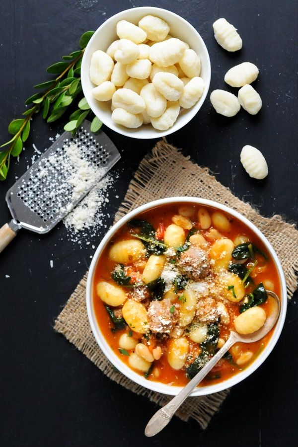 Easy to prepare, this Italian-style tomato soup recipe features zesty Italian sausage and pillowy potato gnocchi topped off with grated Parmiagiano-Reggiano.