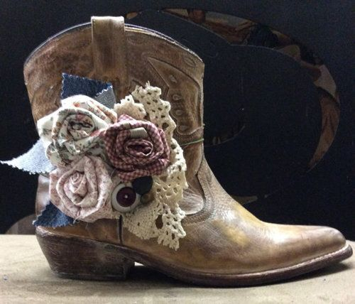 Cowboy Boot Accessories with Hand Made Fabric Rose by jhammerberg ✿ ☺