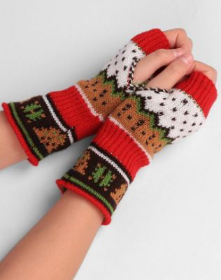 Christmas Knit Exposed Finger Gloves. ECA Listing By Cherry Shop, Serbia