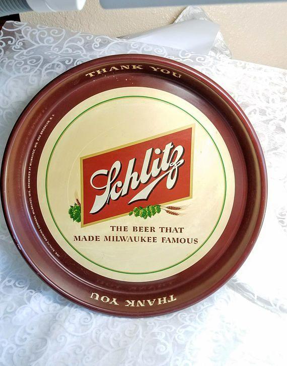 Vintage 1950s Schlitz Beer Tray Milwaukee Brewing Co Retro