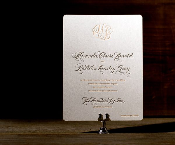 Letterpress Wedding Invitations | Calligraphy Monogram Design | Bella Figura Letterpress