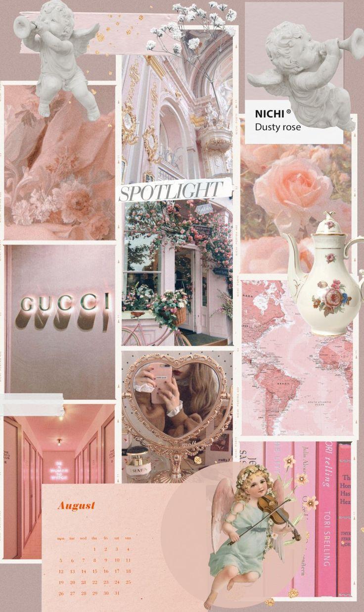 Pink collage в 2020 г   Обои, Розовые обои, Художественные ...