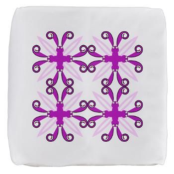 Abstract Purple Awareness Butterflies Cube Ottoman