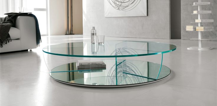 Kadir kulatý konferenční stolek ze skla / coffee table with glass top