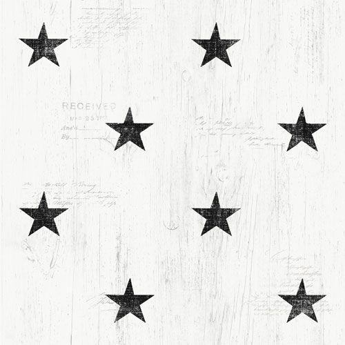 Svarta stjärnor på trämönstrad botten från kollektionen Hantverk, 17319. Klicka för fler fina tapeter för ditt hem!