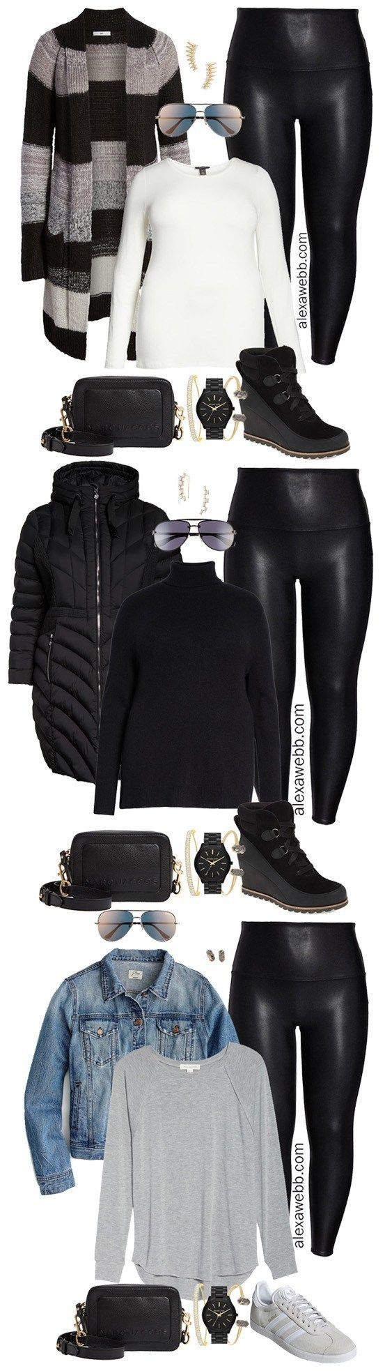 Plus Size Faux Leather Leggings Outfits