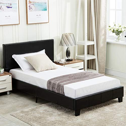 Mecor Twin Size Bed Frame Faux Leather Upholstered Bonded
