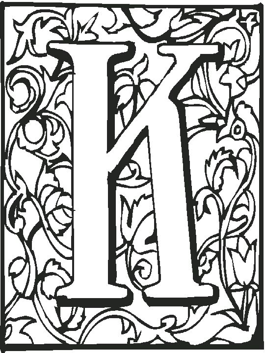 79 best adults coloring pages images on pinterest adult coloring illuminated h illuminated letter k coloring