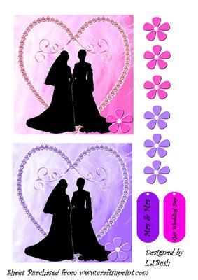 """Gay Wedding Women on Craftsuprint designed by Lorraine J Bush - An unusual Card front 5""""X 5"""" square with a gay woman couple has extra decoupage flowers if required - Now available for download!"""