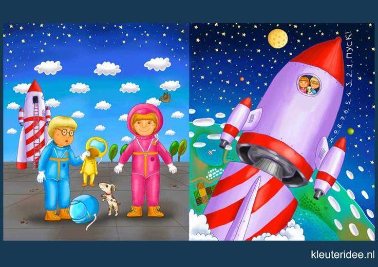 Praatplaat Ruimte 4, space shuttle astronaut kleuters, kleuteridee.nl / free printable (groot formaat) / Preschool theme space planets / Láminas Didácticas Astronaute de l'espace maternelle