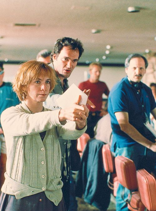 Pulp Fiction - Amanda Plummer on the set receiving direction from Quentin Tarantino #GangsterMovie #GangsterFlick