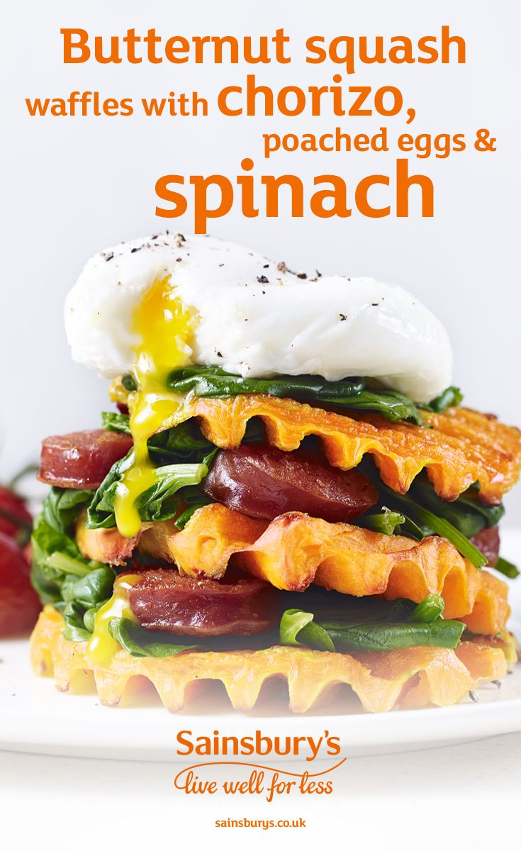 Pick up some pre-prepared butternut squash waffles at Sainsbury's and top with chorizo, poached eggs and spinach. Easter brunch sorted.