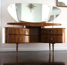 French Apt Hollywood Dressing Side Table Mid Century Vintage Retro Rare boudoir
