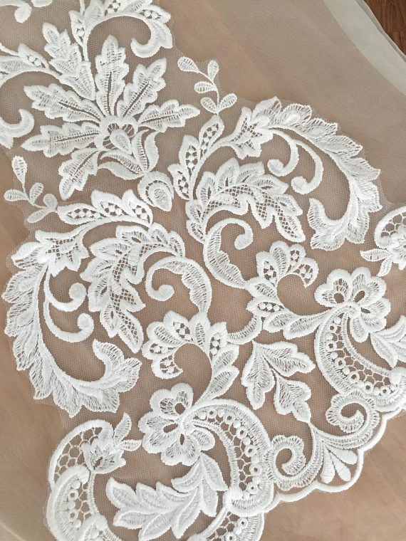 Beautiful venice lace applique in soft white for wedding