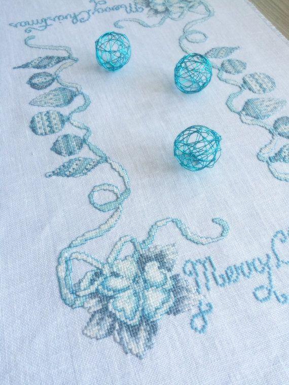 Рождественский крест сшитые белье салфетка, Синий рождественские украшения, Настольный декор, Xmas салфетка,…