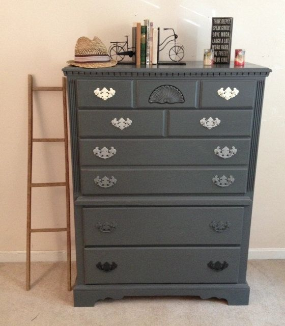 Chic distressed charcoal grey chalk paint by