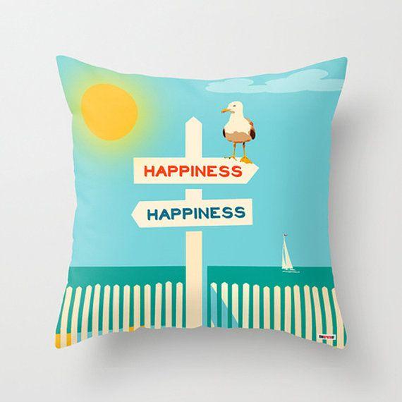 Beach Throw Pillow Case -16 x 16 Decorative Throw Pillow Cover - Novelty Throw Pillow - Nautical pillow - Modern pillow case
