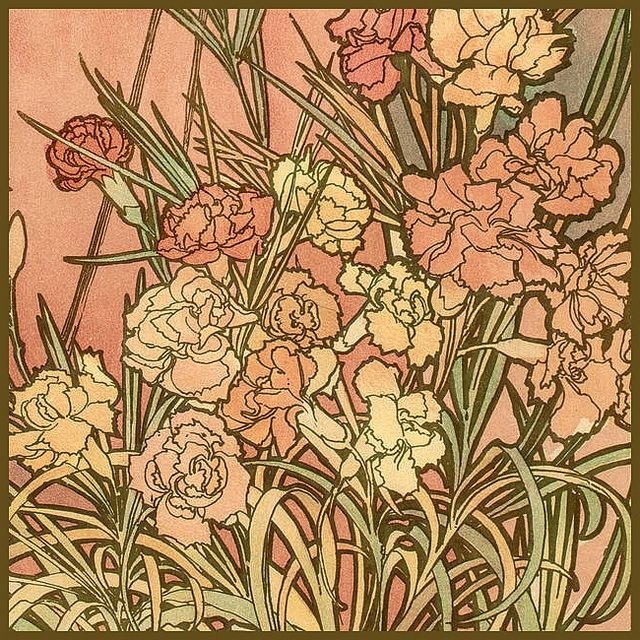 Mucha, Alphonse 'Les Fleurs-The Carnation' 1898 by Plum leaves (moving), via Flickr
