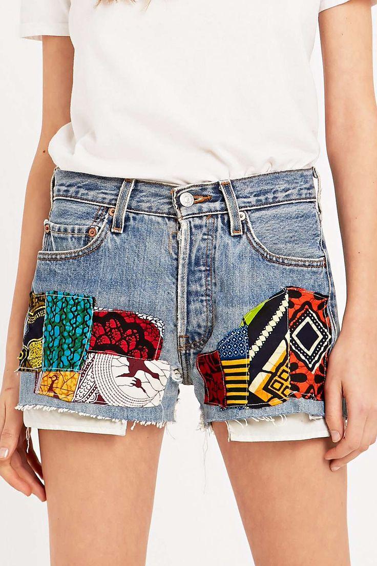Urban Renewal Vintage Customised – Abgeschnittene Shorts mit Flicken