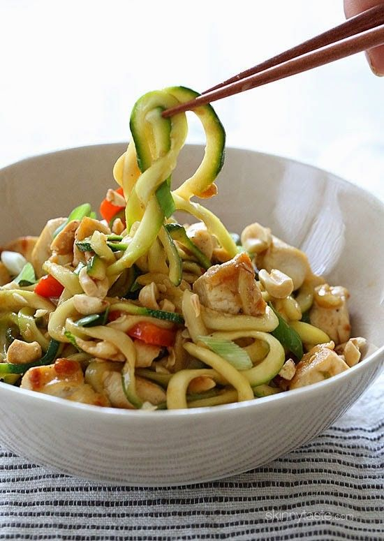 You can enjoy these Kung Pao Noodles without the guilt (under 300 calories), because I replaced the noodles with zoodles (zucchini noodles) and the results were fantastic!!  Each bowl is filled with chicken and vegetables and the sauce has the flavor combination of of salty, sweet, sour, and spicy flavors. Topped with crushed peanuts – it