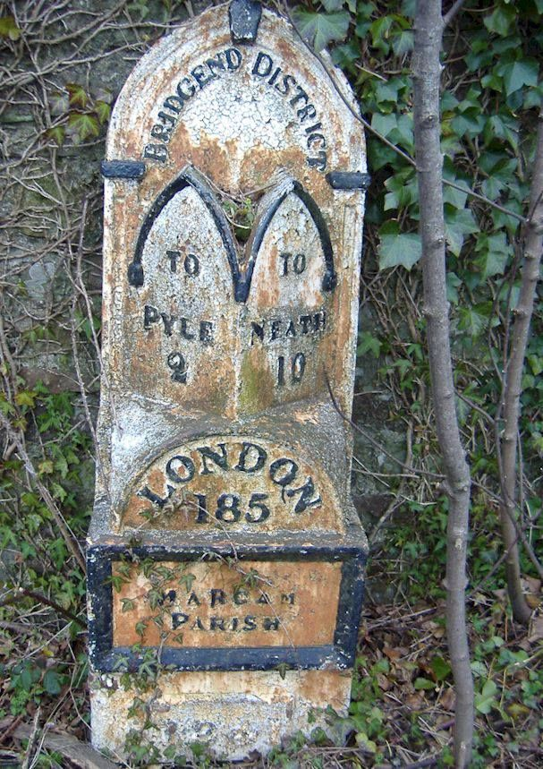 Old Welsh milestone... Bridgend, South Wales, to London positioned in the parish of Margam, Port Talbot, South Wales.