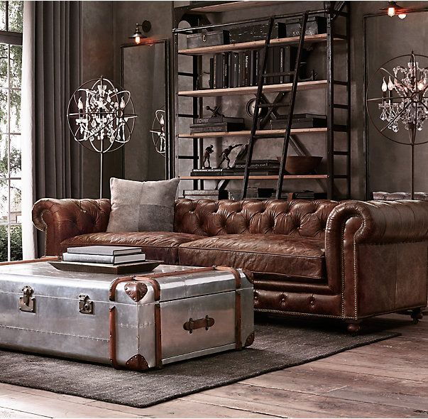 RHs Kensington Leather SofaA masterful reproduction by Timothy Oulton of the classic Chesterfield style our sofa evokes the grand gentlemen club