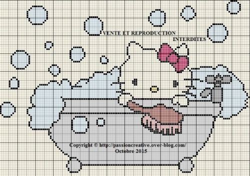 Grille gratuite point de croix : Hello Kitty prend son bain