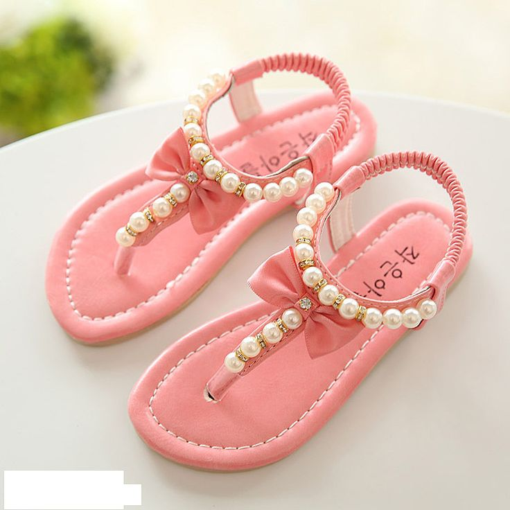 Niños bebé popular perla bowtie sandalias de las muchachas niños de Verano transpirable zapatos de goma pisos sandalias de la princesa zapatos de un solo