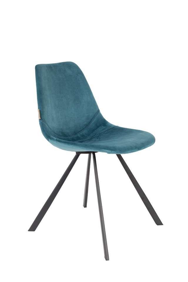 Dutchbone Franky Velvet stoel (set van 2) | Blauwe fluwelen