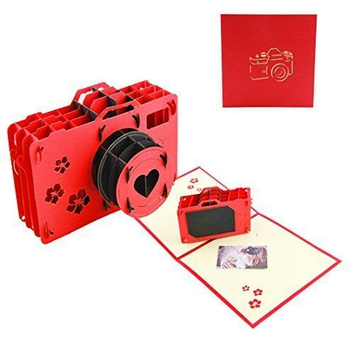 Valentine Day Pop Up Gifts Card Red Lomo Camera Lover Heart Cherry Flower 1 Pack #Anleolife