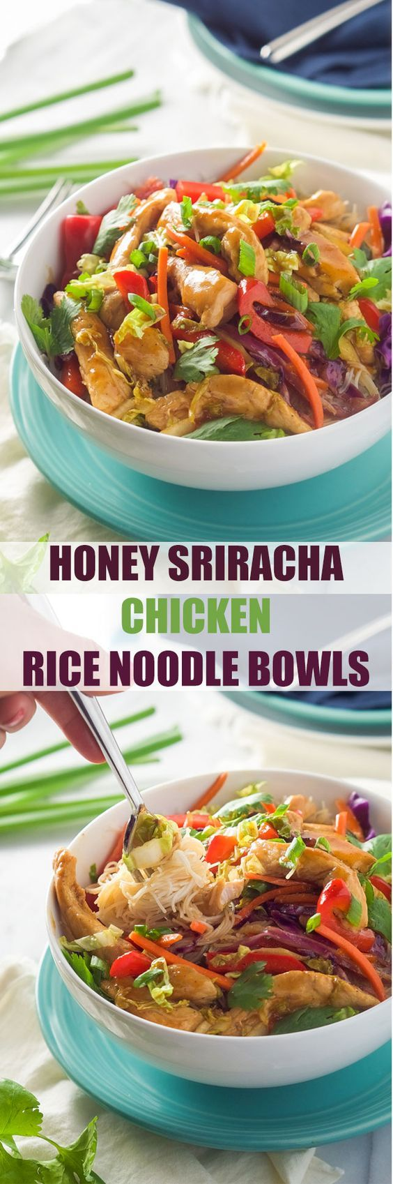 Honey Sriracha Chicken Rice Noodle Bowls are filled with chicken and stir fried vegetables, smothered in a sweet and spicy sauce; all over a big bowl of rice noodles! Click through for recipe!