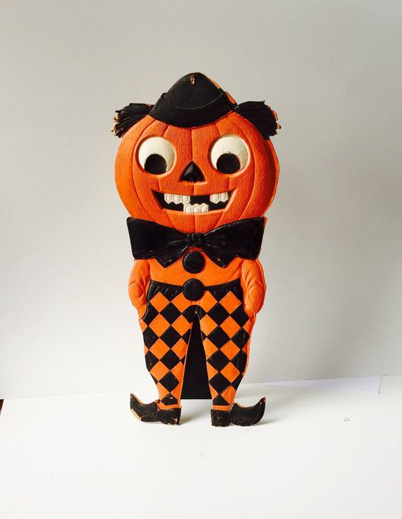 halloween german die cut pumpkin jack o by saffroncoloredpony - German Halloween Decorations