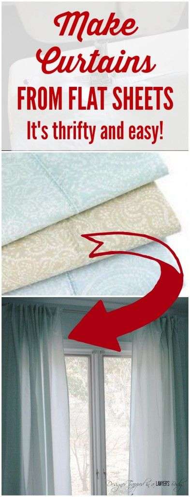 GENIUS! Learn how to make curtains out of sheets! Full tutorial by Designer Trapped in a Lawyer's Body. #ad