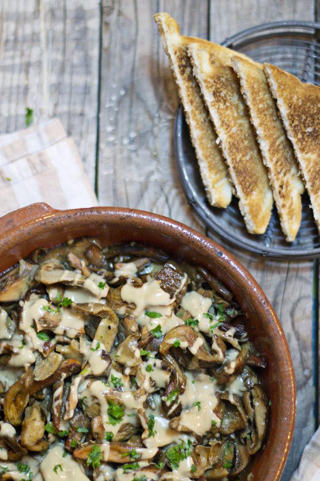 receta de setas asadas al horno con salsa de cabrales