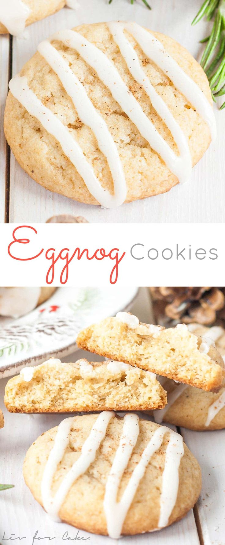 These Eggnog Cookies transform your favourite holiday beverage into a delicious handheld treat! | livforcake.com via @livforcake
