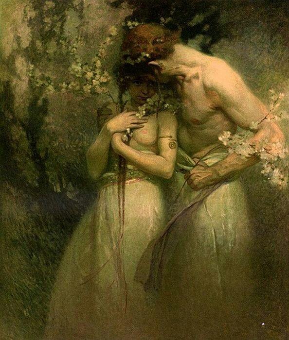 Faccio tutto ciò che posso perché il mio amore non ti disturbi, ti guardo di nascosto, ti sorrido quando non mi vedi. Poso il mio sguardo e la mia anima ovunque vorrei posare i miei baci: sui tuoi capelli, sulla tua fronte, sui tuoi occhi, sulle tue labbra, ovunque le carezze abbiano libero accesso.  A Juliette Drouet, Victor Hugo.  Nell'immagine, il dipinto Notte di primavera di Alphonse Mucha.