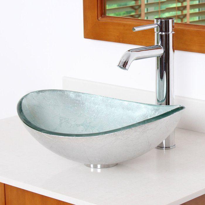 Hand Painted Glass Oval Vessel Bathroom Sink in 2018 Bathrooms
