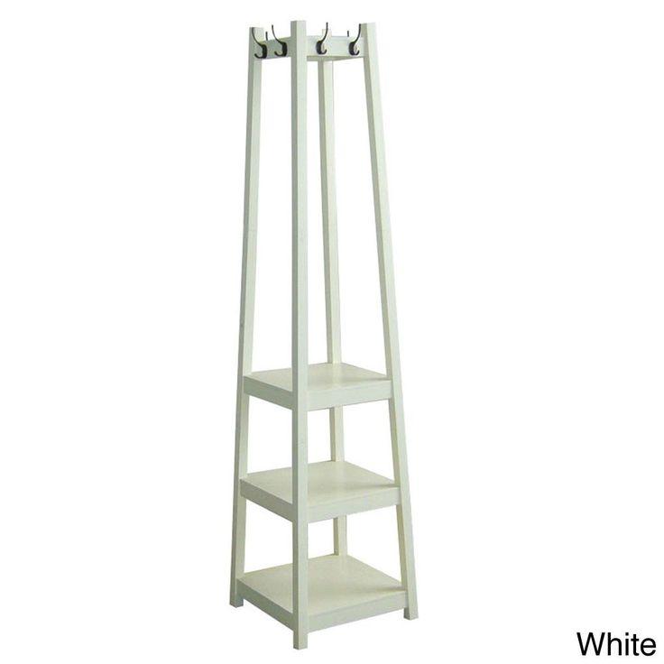 International 3-tier Tower Shoe/Coat Rack (White) (Wood)