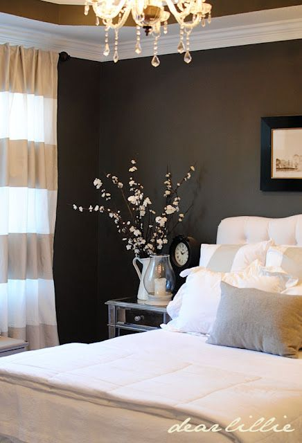 First, I love this bedroom. But I really love the wall color... Kendall Charcoal by Benjamin Moore. We are doing this in our black & white bathroom this month :): Guest Room, Wall Color, Masterbedroom, Guest Bedroom, Dark Walls, Master Bedrooms, Bedroom Ideas