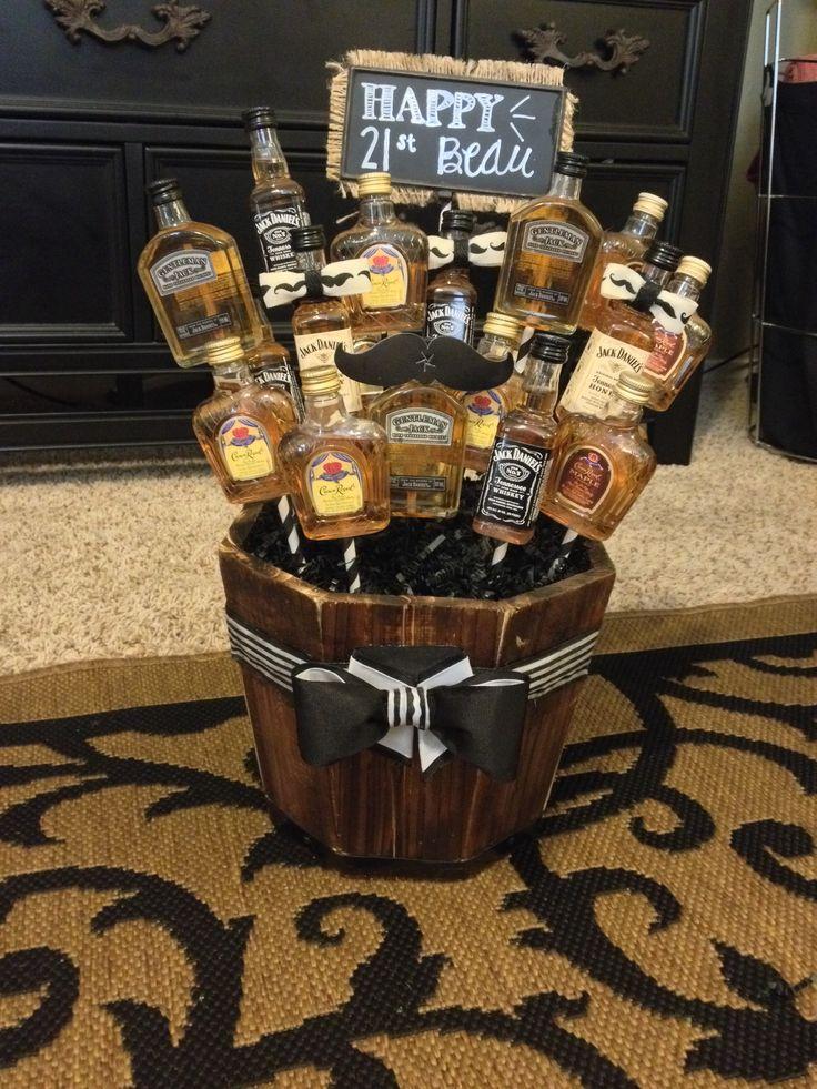 Alcohol basket for Beau's 21st! #DIY