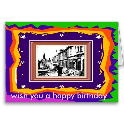 Old Ireland a card with a twist. Outside : Wish you a happy birthday  Inside : and a merry new year