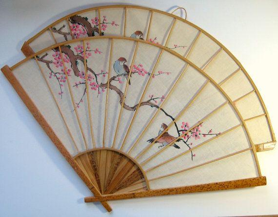 Vintage Asian Fan Decor, Asian Wall Fan Set, Cherry Blossom Bird Fans, Large Asian Fans, Handpainted Wall Fans