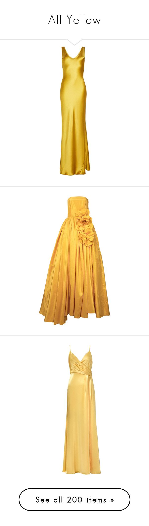 """All Yellow"" by anniebenny ❤ liked on Polyvore featuring dresses, gowns, long dresses, gold, silk ball gown, silk evening dresses, silk evening gowns, yellow dresses, long dress and yellow evening dress"