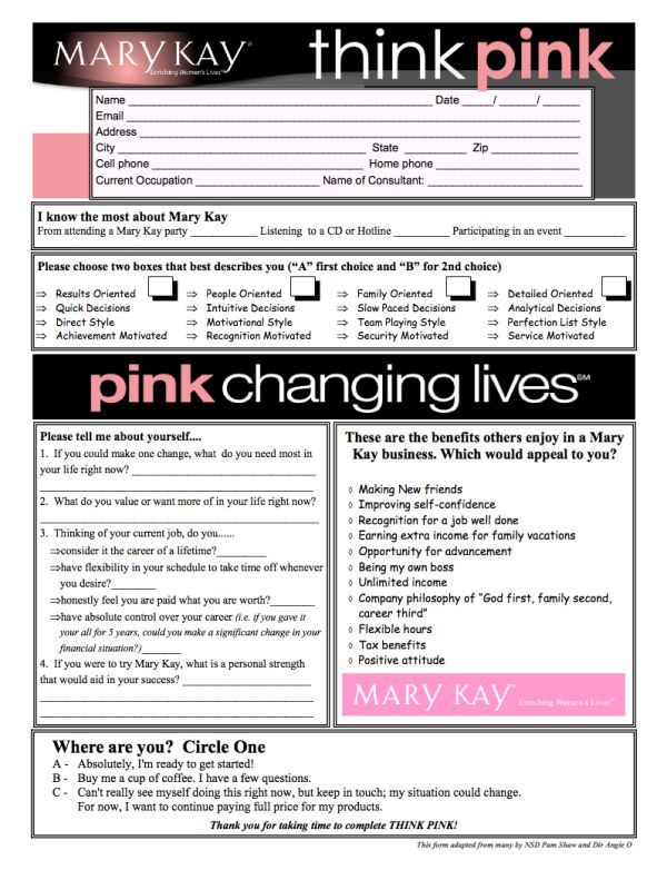 Think Pink Survey for the Mary Kay Career Opportunity  Call Erica Berg 405-437-6507